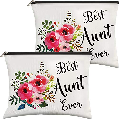 2 Pieces Aunt Gift Cosmetic Bag, Best Aunt Ever Gifts Makeup Bags, Funny Makeup Pouch Aunt Gifts From Niece, Nephew, Travel Bags Sister Friend Auntie Gifts For Christmas Birthday Retirement