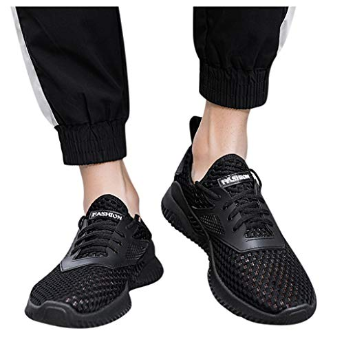 2020 Mens Sneakers Lightweight Athletic Running Walking Gym Shoes Flying Woven Breathable Casual Quick Drying Aqua Water Shoes Best Orthopedic Shoes (black, S :11)