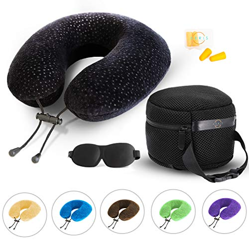 Aeris Memory Foam Travel Pillow For Airplanes Best Airplane Neck Pillow For Long Flights Plane Accessories Easy To Carry Bag To Save Space, Ear Plugs And Eye Mask Perfect Flight Set & Gift