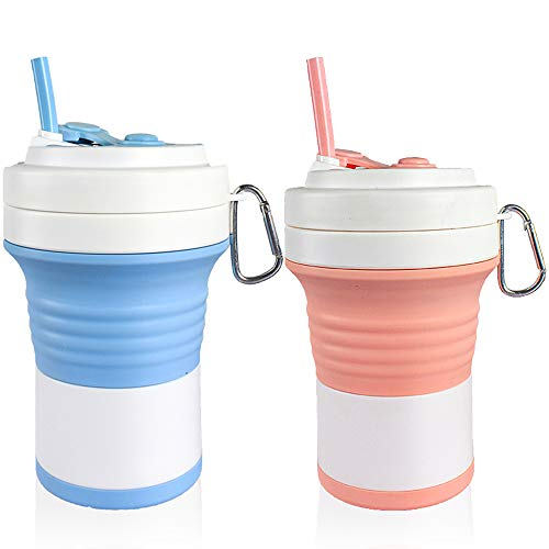 All You Need Is Love Best Value Set Of 2pcs 25oz High Capacity Collapsible Travel Cup With Straw Silicone Folding Portable Camping Sport Cup, Expandable Scald Proof Drinking Cup Fits In Your Pocket