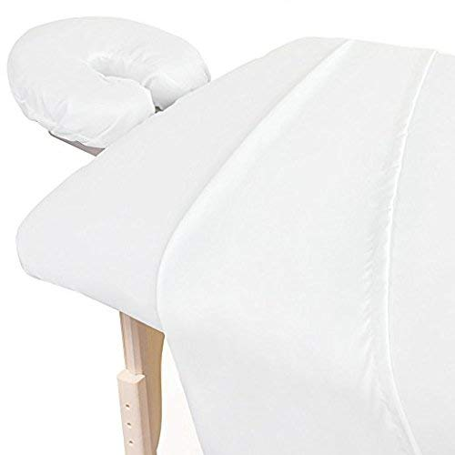 Amazon Best 3 Piece 600 Thread Count Egyptian Cotton Massage Table Sheet Set Soft Cotton Facial Bed Cover Includes Flat And Fitted Sheets With Face Cradle Cover Fabulous Looking White Color