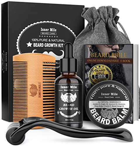 Beard Growth Kit, Beard Roller Kit For Beard & Mustache Facial Hair Growth, Stimulate, Promote With 100% Natural Beard Growth Oil, Balm, Comb, Storage Bag, Best Gifts For Men Him Dad Father Boyfriend