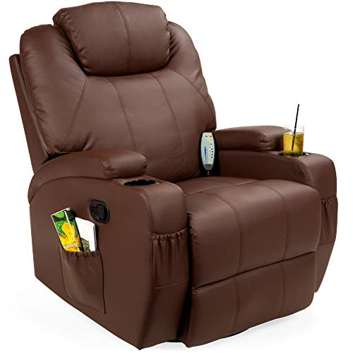 Best Choice Products Executive Faux Leather Swivel Electric Massage Recliner Chair W/remote Control, 5 Heat & Vibration Modes, 2 Cup Holders, 4 Pockets Brown