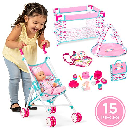 Best Choice Products Kids 15 Piece 13.5in Newborn Baby Doll Nursery Role Play Playset W/ Stroller, Travel Cot, Play Mat, Travel Bag, Carrier, Seat, Accessories
