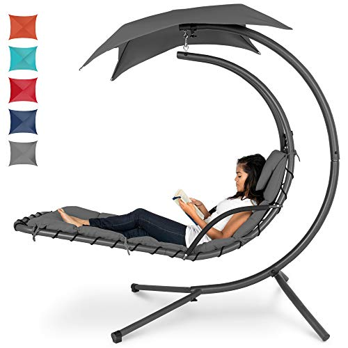 Best Choice Products Outdoor Hanging Curved Steel Chaise Lounge Chair Swing W/built In Pillow And Removable Canopy Charcoal Gray