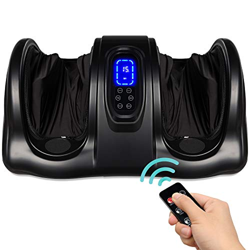Best Choice Products Therapeutic Shiatsu Foot Massager Kneading And Rolling For Foot, Ankle, Nerve Pain W/handle, High Intensity Rollers, Remote Control, Lcd Screen, 3 Massage Modes Black