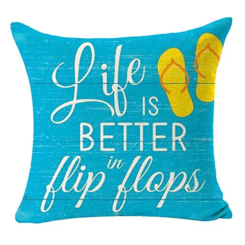 Bnitoam Best Summer Holiday Beach Life Is Better In Flip Flops Cotton Linen Throw Pillow Covers Cushion Case Decorative For Couch Outdoor Sofa Living Room Square 18 X 18 Inch (f)