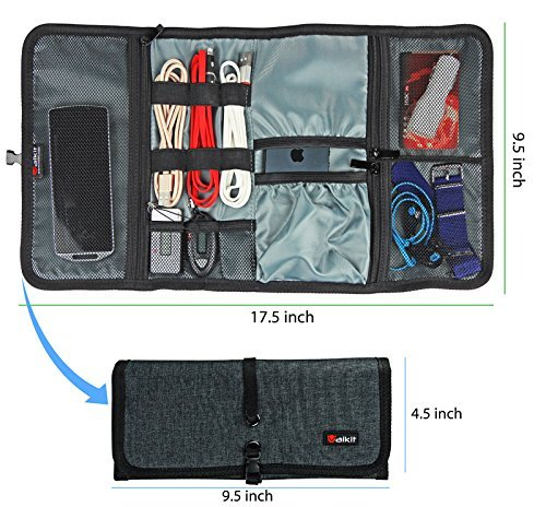 Cable Organizer, Travel Organizer, Valkit Best Electronics Accessories Wire Cord Cables Tires Wrap Case Cover Bags Rolling Organizer Fit Cosmetic For Weekender Travel Management, Small Size Dark Grey