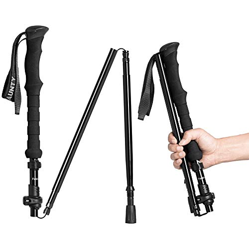 Cline Collapsible Walking Stick For Travel, Adjustable Lightweight Trekking Trail Hiking Pole Fit For Women Men's Height 4.9 6.3(ft),best Gift For Hikers Backpackers & Campers, Dark Black