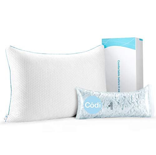 Codi Hybrid Stay Cool Pillow | Best Pillow For Stomach Sleepers | Standard Size, 18 X 25 Inch | Adjustable Memory Foam Cool Gel Pillow | Certipur Certified Shredded Memory Foam Sleeping Bed Pillows