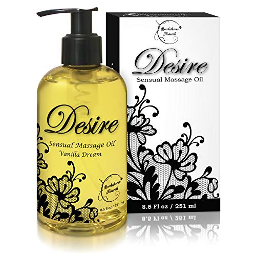 Desire Sensual Massage Oil Best Massage Oil For Couples Massage – Perfect Gift For Her All Natural Contains Sweet Almond, Grapeseed & Jojoba Oil For Smooth Skin 8.5oz