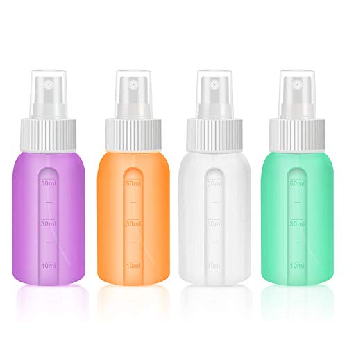 Fine Mist Spray Bottle Silicone 2oz/50ml Empty Portable Refillable Travel Liquid Containers Set For Makeup Cosmetic Skincare Perfume, Essential Oils,sprayer Bottles(4pack) (the Best Spray Bottle.)