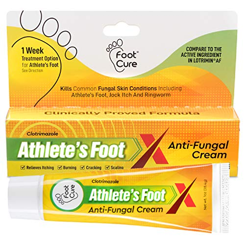 Foot Cure Athlete's Foot Cream Made In Usa Treats Fungal Infections, Itchy Feet, Ringworm, Jock Itch And Dry Crack Heals Best Anti Fungal Treatment