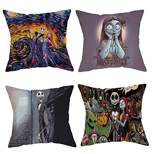 Futerly Halloween Decorations Set Of 4 Nightmare Pillow Covers 18x18 Inch Throw Pillow Cover Square Sofa Cushion Covers Pillowcase Best For Family Friends