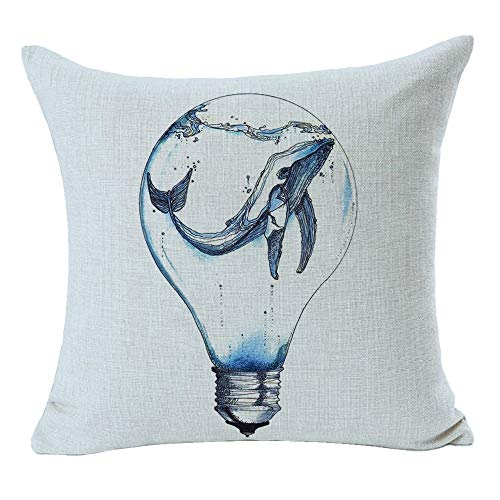 Gawekiqe Whale Light Bulb Marine Life Blue Best Gift For Friend Family Square Cotton Linen Decorative Throw Pillow Cover Cushion Case For Family Bed Sofa Outdoor 18inches (light Blue)