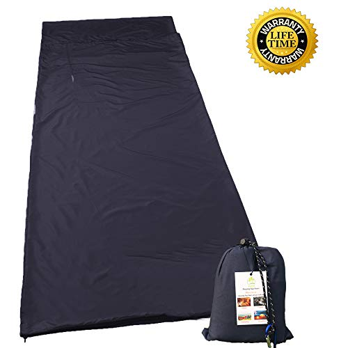 Hzjoyue Sleeping Bag Liner Compact,lightweight, Dirt Proof,soft Camping Sheet Best Sleeping Sheet For Outdoor Travel Hiking, Camping, Backpacking, Hotel, Business Trip With Carabiner