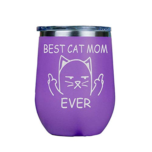 'it''s A Skin' Best Cat Mom Ever Stainless Steel Stemless Wine Insulated Tumbler With Clear Lid 12oz Red Or White Great Gift For Her, Him Travel Includes Free Wine/food Pairing Card Purple
