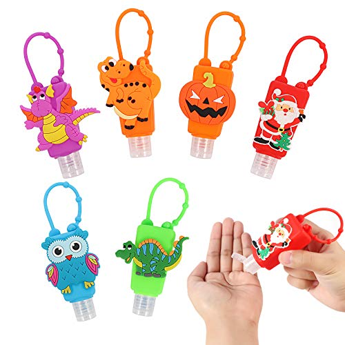 Kids Empty Hand Sanitizer Holder Keychain Carrier Travel Bottles Silicone Cute Cartoon Case Leak Proof Refillable Portable Containers, Best Gifts For Themed Parties Christmas, Halloween, 6pcs/30ml