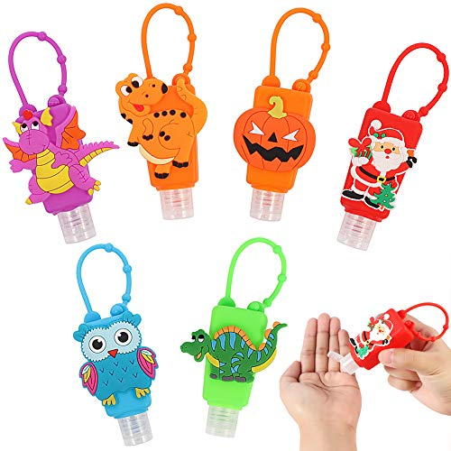 Kids Hand Sanitizer Holder Keychain Hand Sanitizer Holder For Backpack Empty Silicone Cute Cartoon Travel Refillable Bottles, Best Gifts For Themed Parties Christmas, Halloween, 6pcs/30ml/1oz