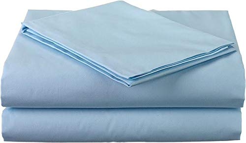 King Size 3 Pcs Flat Sheets (1 Flat Sheets & 2 Pillow Case) Luxury Bed Sheets Best Premium Quality Sheet On Amazon Easy Fit Breathable & Cooling Comfy Top Sheet Light Blue Solid 600 Thread Count