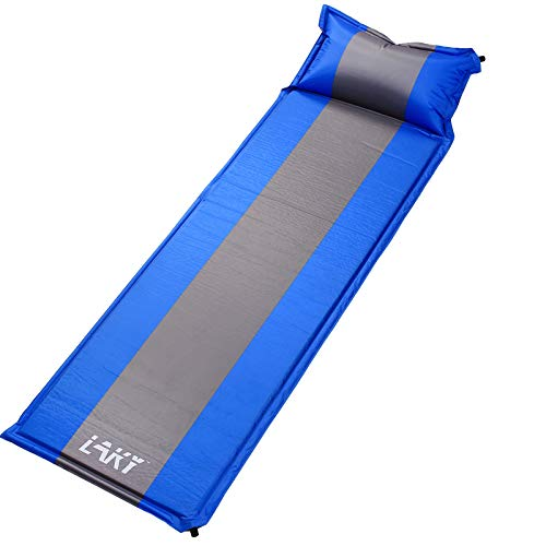 Laky Camping Sleep Mat With Pillow Self Inflating, Lightweight, Best Foam Sleeping Pads For Backpacking, Hiking, Inflatable Durable Comfortable & Compact Sleeping Mattress