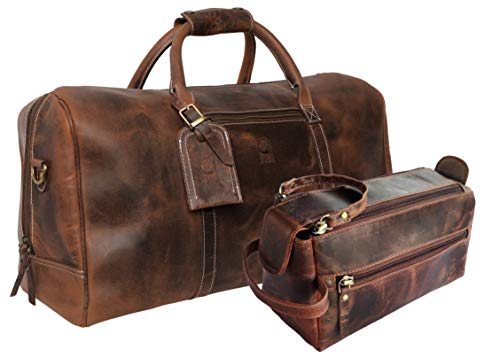 Leather Duffel Bag & Toiletry Bag Combo The Best Masculine Travel Gift For Men