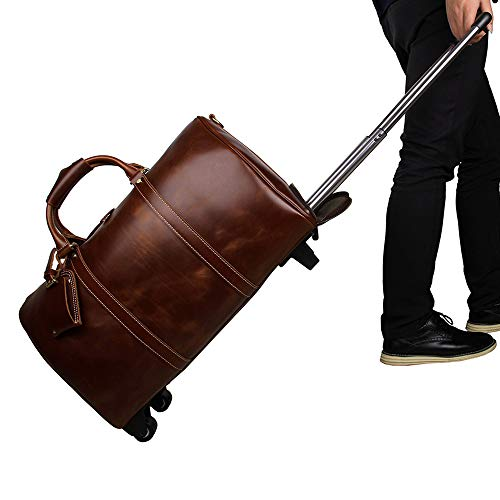 Luggage Leather Trolley Bag, Wheeled Travel Duffel Bag, Large Capacity Travel Garment Bags, Waterproof Duffle Bags For Men, Best Weekend Bag