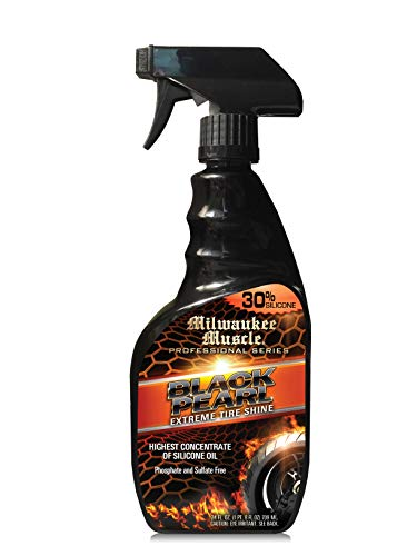 Milwaukee Muscle Tire Shine Silicone Spray Black Pearl 24 Fl Oz The Best Tire Shine Spray For Car Care Silicone Based Enhanced Gloss And Water Resistant Tire Detailing Spray