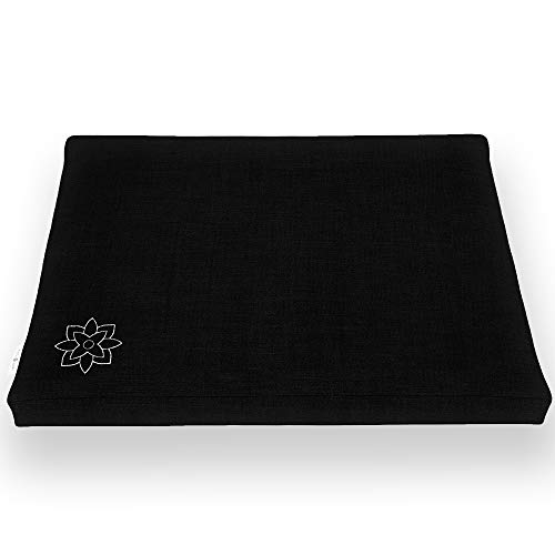 Mindful And Modern Zabuton Meditation Cushion Cotton Meditating Mat For Best Kneeling And Sitting Support Large Rectangular Floor Pillow For Zafu Or Bench (minimal Black)