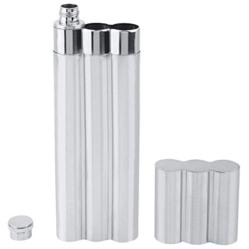 Mumusuki Three Tubes Stainless Steel Hip Flask And Cigar Holder Humidor Tube Travel Carry Case For Mens Smokers Best Gift Silver