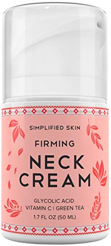 Neck Firming Cream For Sagging, Wrinkles & Tightening. Best Anti Aging Chest & Decollete Moisturizer For Turkey Neck, Double Chin & Erase Crepe With Glycolic Acid & Vitamin C By Simplified Skin 1.7 Oz