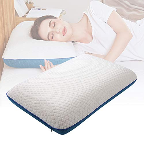 Nesaila Memory Foam Pillow, Doubled Sided Gel Cooling Pillow, Bed Pillows For Sleeping, Neck Pillow For Pain Relief Sleeping, Best For Side Back Stomach Sleepers Doubled Pillow Covers (white Blue)