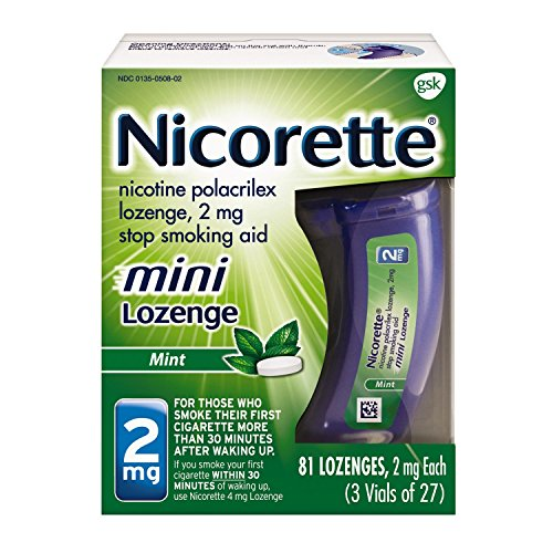 Nicorette 2mg Mini Nicotine Lozenges To Quit Smoking Mint Flavored Stop Smoking Aid, 81 Count