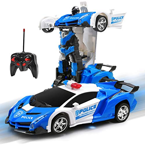 Olabeno Rc Car Robot For Kids 2.4ghz Transforming Robot Remote Control Car With One Button Deformation & Realistic Engine Sounds And 360°speed Drifting 1:18 Scale Best Gift For Child (white)