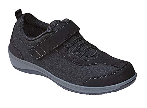 Orthofeet Proven Foot And Heel Pain Relief, Extended Widths. Best Orthopedic, Plantar Fasciitis, Diabetic Women's Shoes Volcano Black