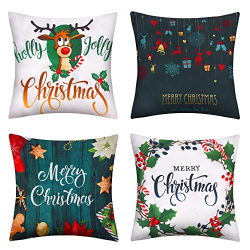 Pendali Christmas Throw Pillow Covers, 18x18 Winter Home Outdoor Decorative Pillowcases, Set Of 4 Green Polyester Soft Pillow Case For Living Room Bed Sofa Chair Couch, Best Gift For Christmas