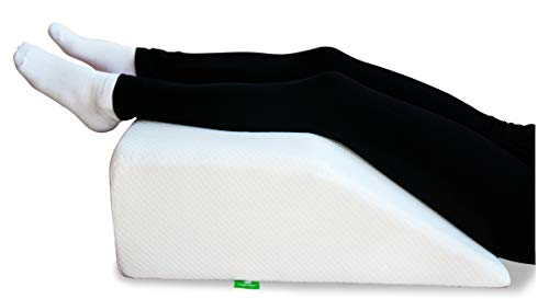 Post Surgery Elevating Leg Rest Pillow With Memory Foam Top Best For Back, Hip And Knee Pain Relief, Foot And Ankle Injury And Recovery Wedge Breathable And Washable Cover (8 Inch Elevator, White)