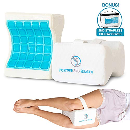 Posture Pro Health Memory Foam Orthopedic Knee Pillow With Cooling Gel & Adjustable Strap | Back, Hip, Knee Support Cushion For Side Sleepers & Pregnant Women | Bonus Cover | Best In Comfort & Design