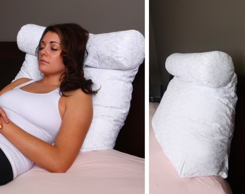 Relax In Bed Pillow Plain White Best Lounger Support Pillows With Neck Roll For Reading Or Bed Rest Lower Back Pillow Back Pillow Back Support Lower Back Pain Chair