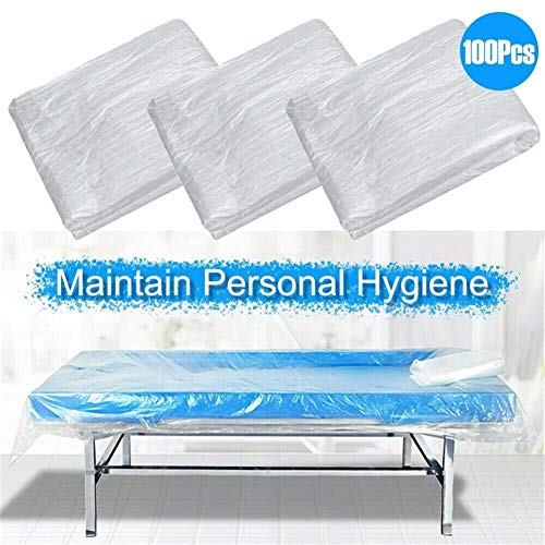 Rigo 100pcs Disposable Bed Couch Pad Cover Plastic Massage Spa Salon Table Sheet Best For Use In Spa Saunas