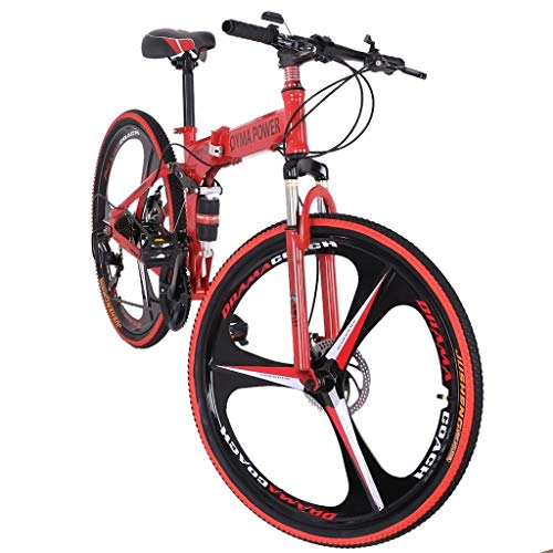 Road Bike Best,jkioleg's 26in Folding Mountain Bike Shimanos 21 Speed Bicycle Full Suspension Mtb Bikes Double Suspension For Intermediate To Advanced Riders 26 Inch Wheels, Red