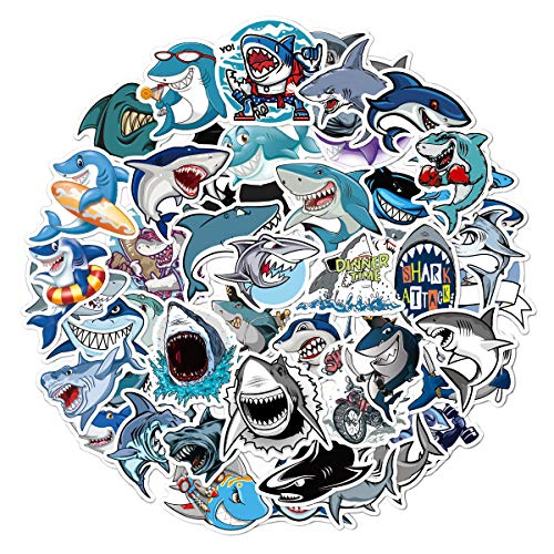 Shark Stickers (50 Pcs) Cute Ocean Shark World Waterproof Decals For Hydroflasks Laptop Water Bottle Car Bike Helmet Bbumper, Best Gift For Teens, Girls, Boys, Adults, Friends