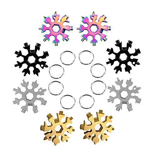 Snowflake Multi Tool For Men, 18 In 1 Keyrings/bike/keychain/camping Tools, Gadgets For Men Technology, Bottle Opener/screwdriver/portable Outdoor Best Helper/gifts For Ladies 8 Pcs 4 Colors