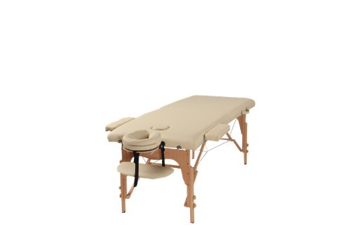 The Best Massage Table Two Fold Beige Portable Massage Table Pu Leather High Quality