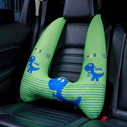 Travel Car Pillow Cushion With Neck, Head & Seatbelt Support For Kids, Adults & Baby | Soft And Cozy Adjustable Car Head And Neck Pillows | Best For Children When Traveling Or Sleeping Playful Green