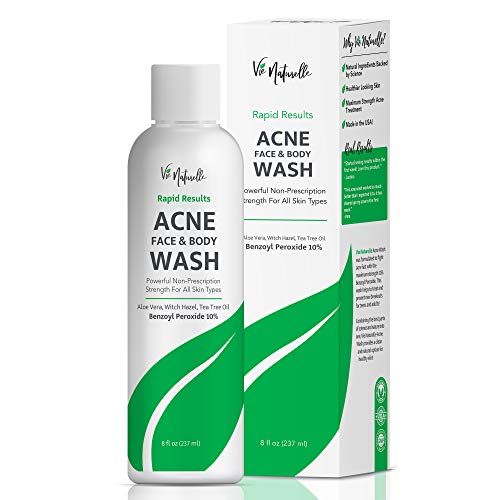 Vie Naturella 10% Benzoyl Peroxide Acne Face And Body Wash, Best Back Acne Wash, Skin Cleanser, Oil And Paraben Free Treatment, Dermatologist Tested 8 Oz