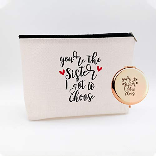 Wiezo Usa You Are The Sister I Got To Choose,funny Birthday Christmas For Sister Women Girls Bestie Best Friends,waterproof Cosmetic Bag Makeup Bag And Travel Rose Gold Mirror,set 2 Pcs