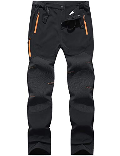 Benboy Men's Snow Ski Outdoor Waterproof Windproof Fleece Cargo Hiking Pants (medium, F Black)