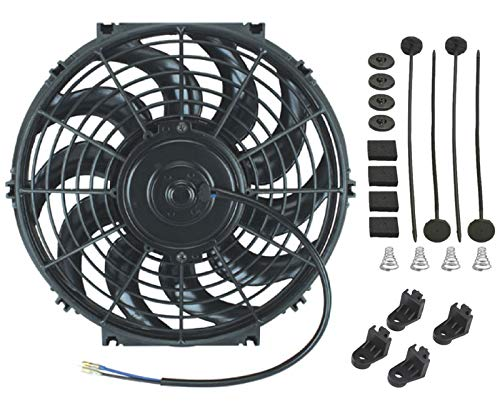 "American Volt 12 Volt Automotive Engine Electric Radiator Cooling Fan Reversible High Performance Thermo Car Truck Cooler Custom Upgraded Motor Best Cfm (15"" Inch, Single Fan)"