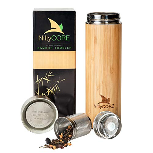 Bamboo Tumbler With Tea Infuser Bottle Loose Leaf Strainer – Advanced Double Insulated Stainless Steel Travel Thermos Best Gift For Tea Lovers Leak Proof Hot Coffee Mug, Fruit Water Bottle (17 Oz)
